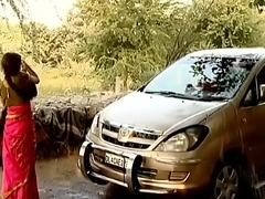 ---indian village bhabhi cleaning car..{uncut ex...